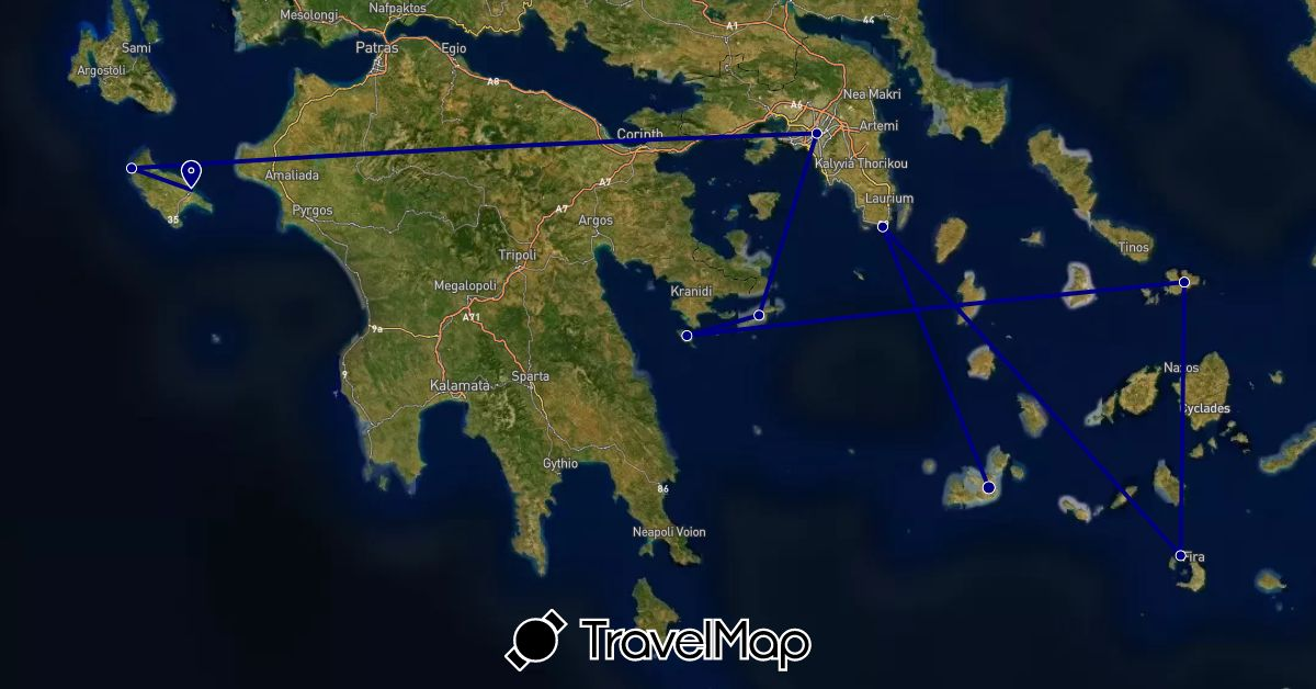 TravelMap itinerary: driving in Greece (Europe)